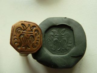 Post - Medieval Bronze Seal - Ring With Pseudo Heraldic Image (k531). photo