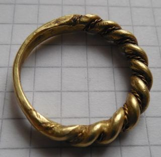 Viking Period Gold Crimped Ring Big Size 7.  75g photo