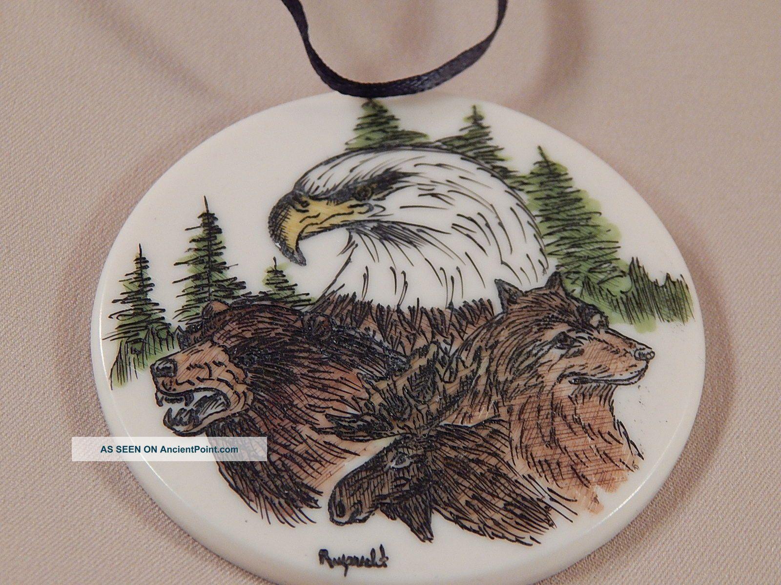 Scrimshaw Resin Christmas Ornament Eagle Bear Wolf Moose Scrimshaws photo