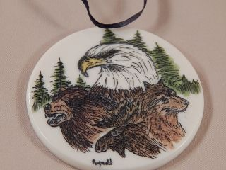 Scrimshaw Resin Christmas Ornament Eagle Bear Wolf Moose photo