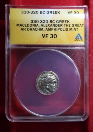 Anacs Certified And Vf 30 Graded Macedonia,  Alexander The Great Ar Drachm 330 Bc photo
