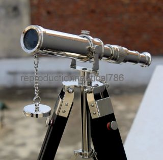 Solid Brass Office Desk Telescope Maritime Vintage Scope Tripod Telescope Decor photo