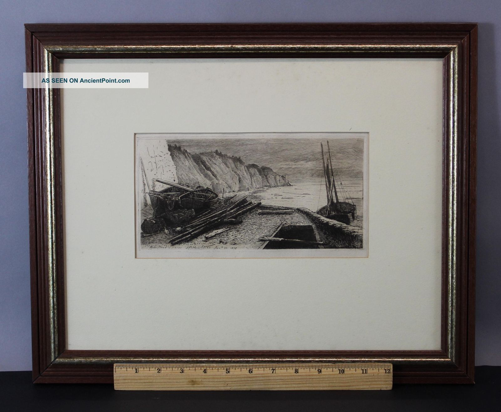 Antique 1878 John Postle Heseltine Etching Bees Head Ireland Cliffs Seascape Other Maritime Antiques photo