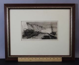 Antique 1878 John Postle Heseltine Etching Bees Head Ireland Cliffs Seascape photo
