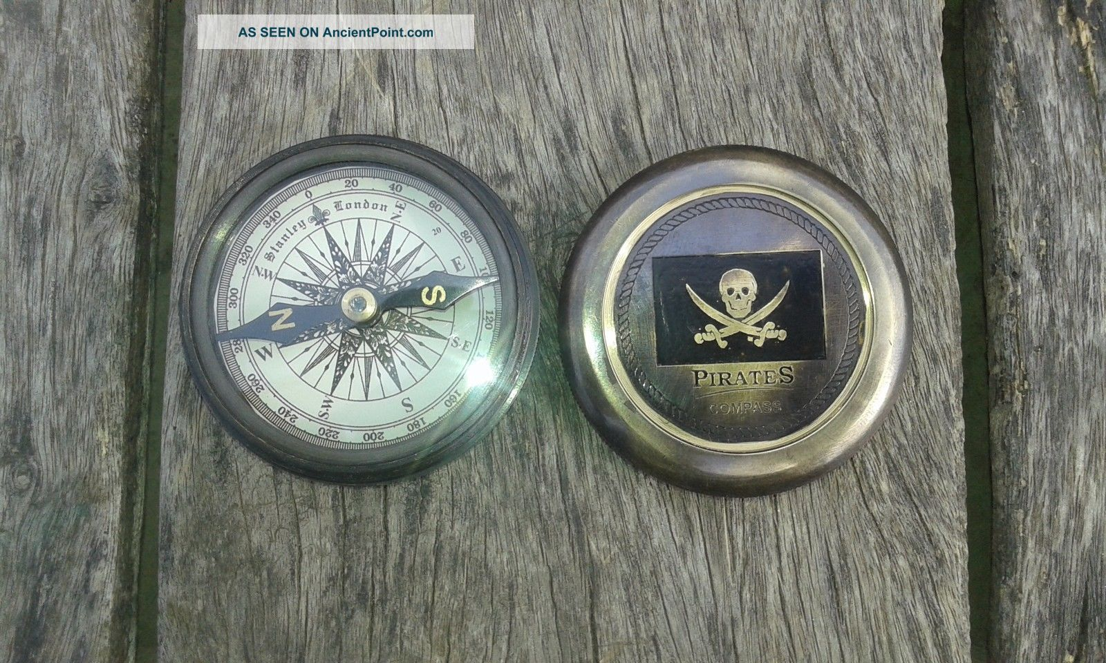 Antique Vintage Nautical Pirates - Compass - Poem - Compass Solid Brass Compasses photo