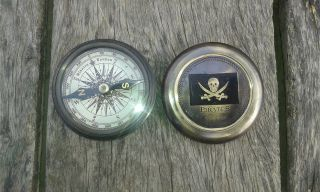 Antique Vintage Nautical Pirates - Compass - Poem - Compass Solid Brass photo