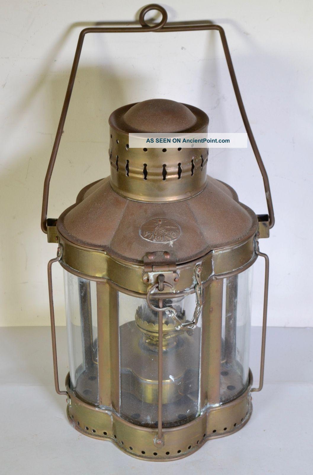 Antique Viking Brass Hanging Nautical Ship Oil Lantern - Rare Scalloped Design Lamps & Lighting photo