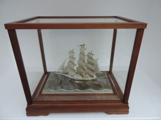 Finest Signed Japanese 3 Masted Sterling Silver 985 Clipper Ship Takehiko Japan photo