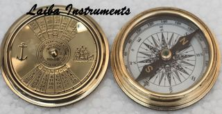 Vintage Nautical Pocket Brass Compass Poem Compass Marine Compass Compas photo