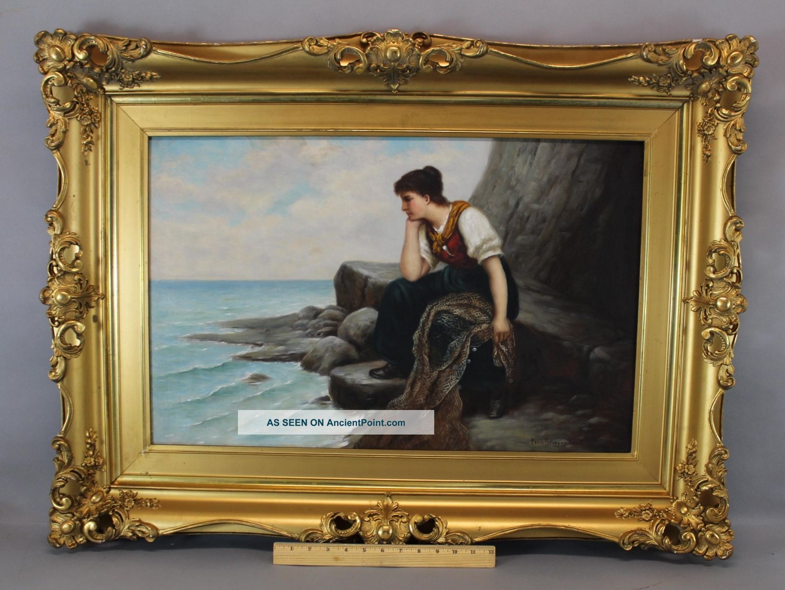 Antique Ferdinand Von Stoopendaal Swedish Oil Painting,  Woman W/ Fishing Net Folk Art photo
