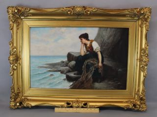 Antique Ferdinand Von Stoopendaal Swedish Oil Painting,  Woman W/ Fishing Net photo