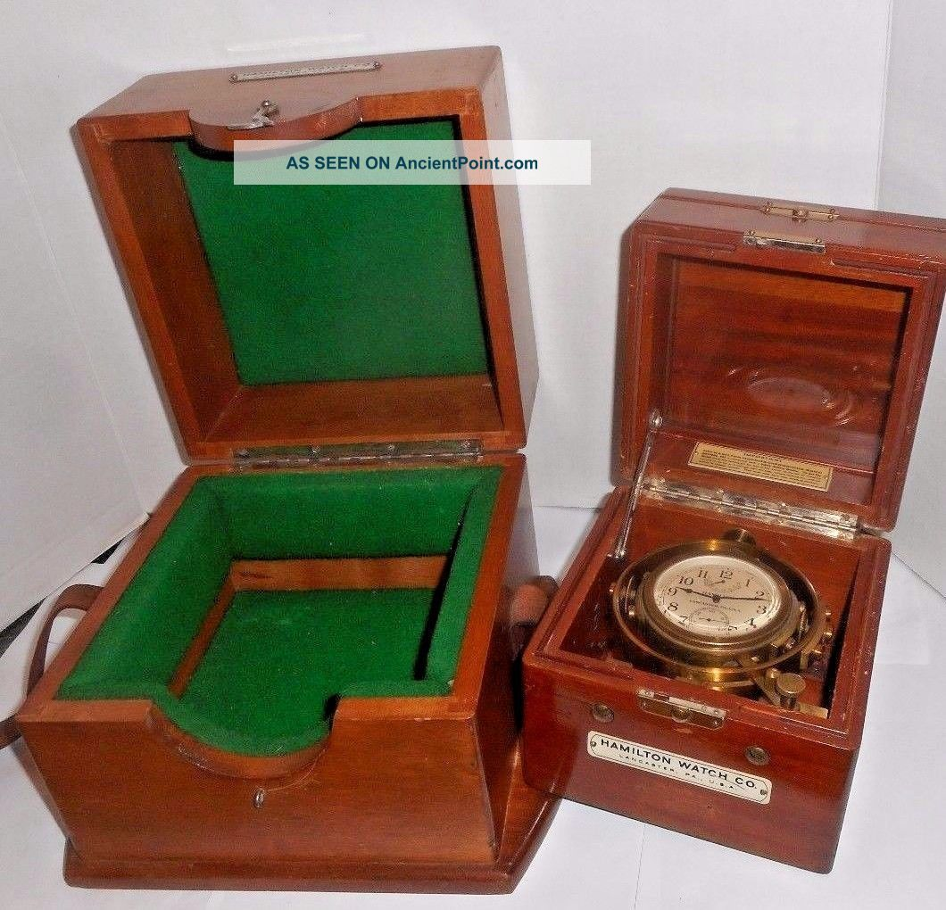 Hamilton Lancaster Model 22 Marine Ship Chronometer Wwii U.  S.  Navy 1943 Clocks photo