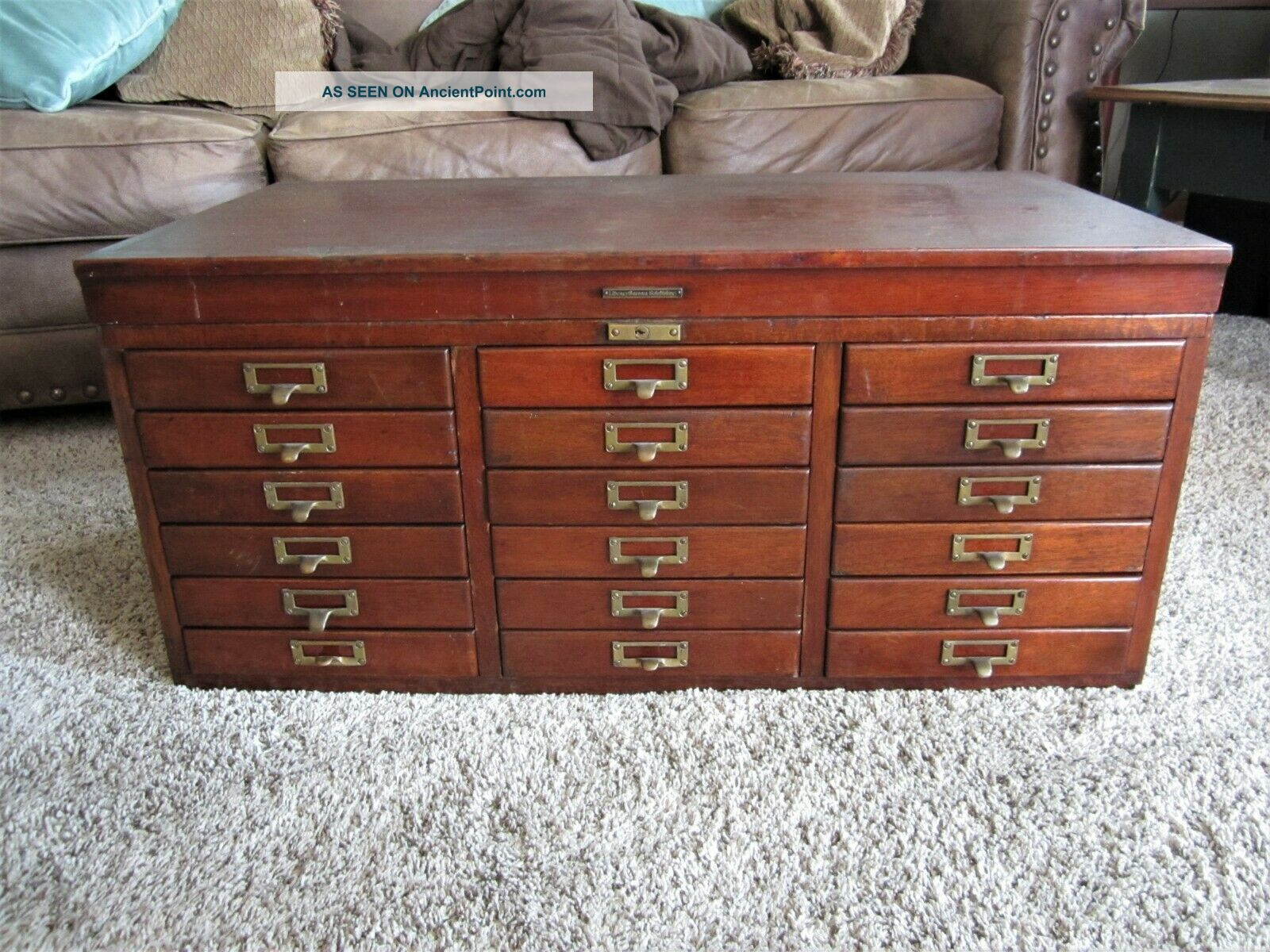 Mahogany Brass Library File Cabinet Wood Dentist Chest Paper Sorter Coffee Table 1900-1950 photo